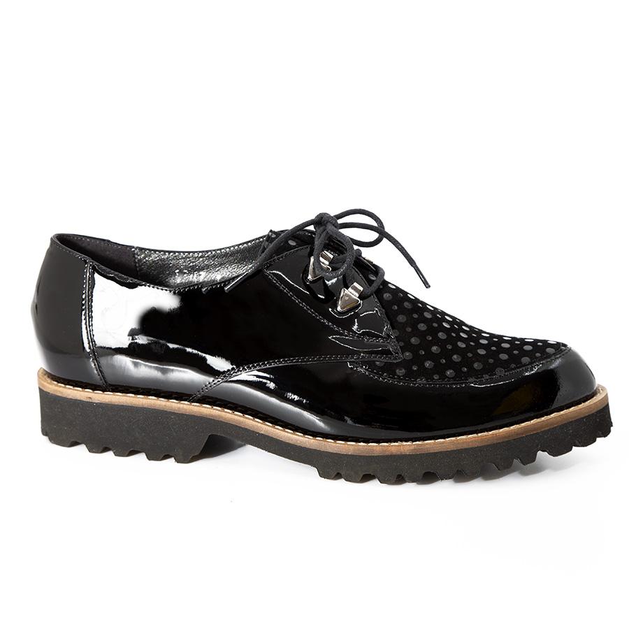 Elegantna ženska oksford cipela u crnoj koži i laku