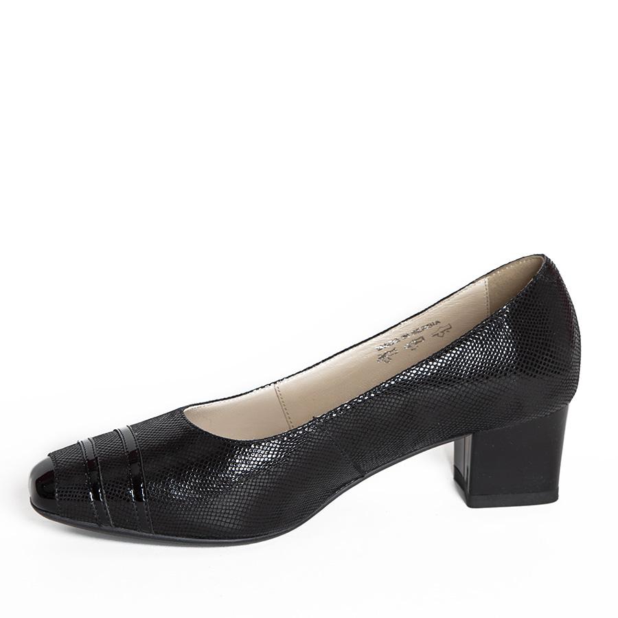 Ženska cipela na stabilnoj potpetici u crnom sitnom krokou